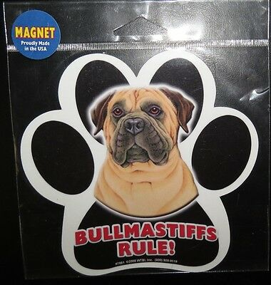 Bullmastiffs Rule! ~ Waterproof Dog Paw Magnet - Made in USA - NEW