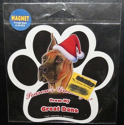 Seasons Greetings From My Great Dane ~ Waterproof Dog Paw Magnet -  Made In USA
