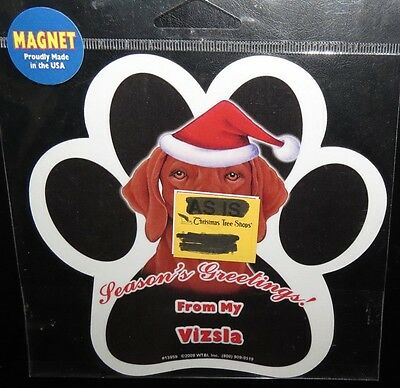 Vizsla Season Greetings  ~ Waterproof Vizsla Dog Paw Magnet - Made In USA - NEW