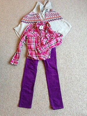 H&M girls cords, blouse and knitted poncho outfit age 10/12yrs