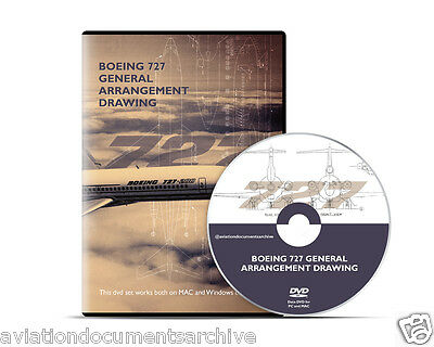 Boeing 727 General Arrangement Drawings in CD/DVD- Free Shipping