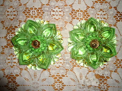 "Green Glass Drapery Tiebacks Antique 4"" Flower Parts"