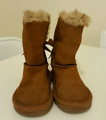 Next girls chestnut / tan winter warm bow boots size 9
