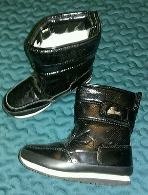 Rubber Duck girls snow winter boots black with fur lining uk1