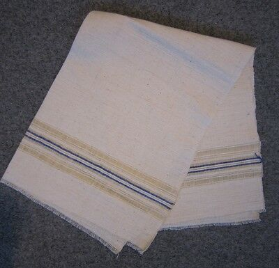 Vintage Linen Towel Hand Woven Fabric Textile Strips 17 x 25 inches