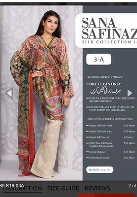 Sana Safinaz Silk Collection 2016 3a Unstitched, 100% Authentic Sold Out!