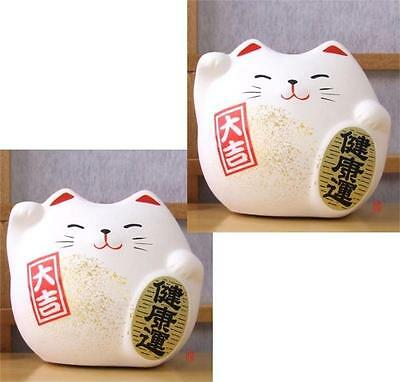 2 Japanese Feng Shui Lucky cat  white for health