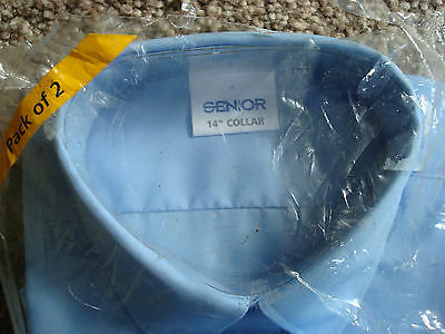 2 Blue Senior School Shirts 14 Inch Collar Short Sleeves