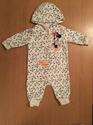 Disney Minnie Mouse White Navy All In One Zip Up Hooded Romper Playsuit 3-6m