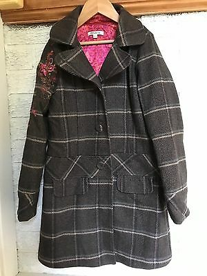 Girls Kenzo Coat, Embroidered Sleeve, Brown Age 10 Excellent Condition