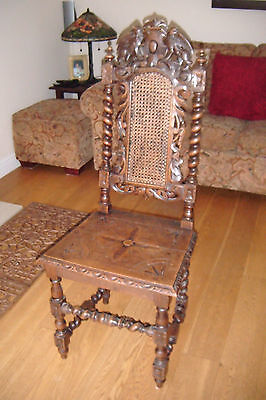 Victorian Carved Oak Cane Back Chair. Lovely Patina.