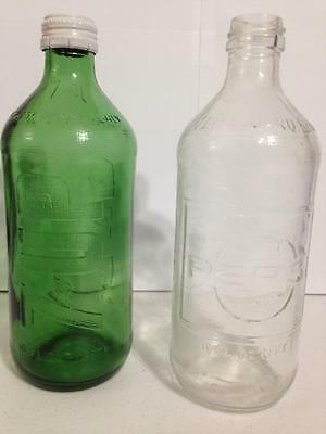 VINTAGE 70's EMBOSSED PEPSI COLA & 7-UP 16oz CLEAR/GREEN GLASS BOTTLE