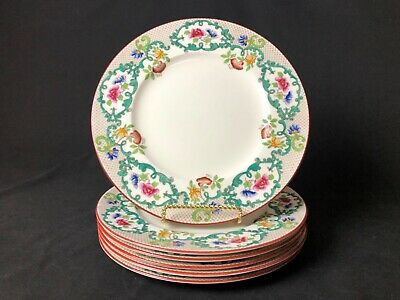 "Antique Set of 6 Cauldon England Hand Painted 10&3/4"" Dinner Plates (Red Trim)"