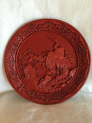 """Red 12"""" Beautiful Vintage Cinnabar Stork Scene with Immaculate Details - Black"""