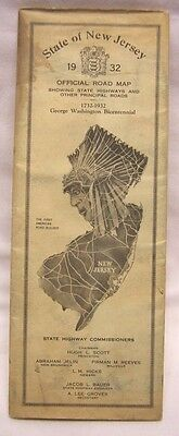1932 State of New Jersey Official Road Map State Highway Commission