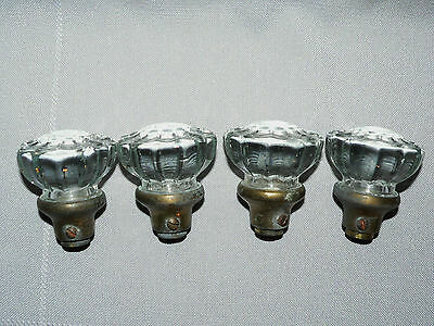 4 Vintage Antique Glass Door Knobs Handles Brass Base 12 Sided