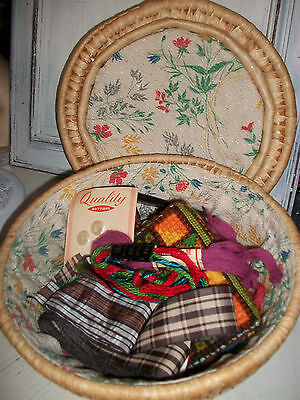 Vintage 1960s sewing basket & contents vintage needle case Chinese pin cushion