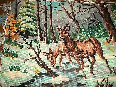 Vintage completed needlepoint tapestry picture deer in snow picture
