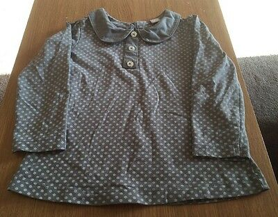 GIRLS GREY SPOTTED TOP BY TU - Age 18-24 Mths