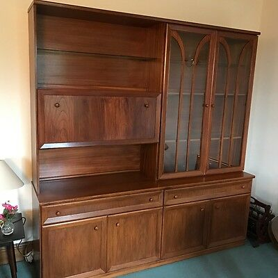 Stained wood side board display cabinet drinks bureau