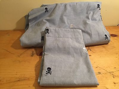 Pottery Barn Kids Oxford Embroidered Skull Duvet Cover + Sham Chambray TWIN