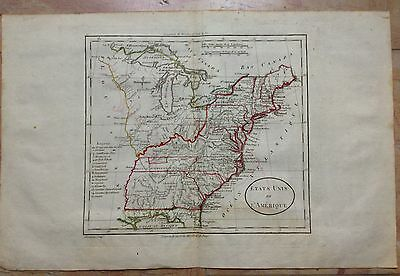 UNITED STATES XVIIIe CENTURY by BLONDEAU COPPER ENGRAVED MAP ORIGINAL COLORS