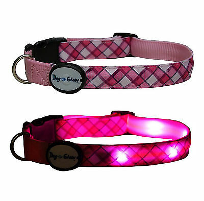 Dog e Glow LED Night Light up Lge Pink Plaid dog collar spare batteries included