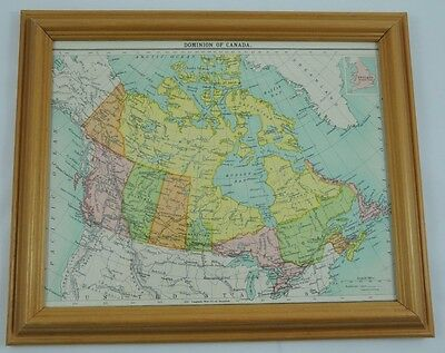 """Vintage Map of """"Dominion of Canada"""" by J G Bartholomew circa 1930 in Pine Frame"""