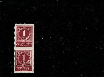 Croatia - NDH 1941 PORTO stamps in pair, imperforated in the middle, MNH
