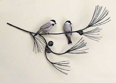 Lodge Art Designs Wood Chickadees Birds on a Metal Pine Branch Wall Sculpture