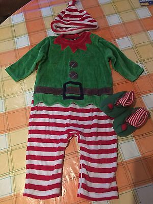 Next Christmas Elf Outfit Onesie Babygrow w Hat & Shoes 9 - 12 Months Boy Girl