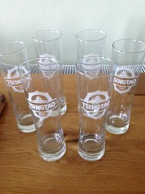 Tsingtao Etched Glasses - Brand new boxed set of 6