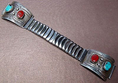 Vintage Navajo Watch Tips Sterling Silver Red Coral Turquoise Expandable Band