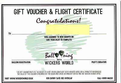Hot Air Balloon Flight  2 x Tickets with Wickers World - Midlands and North West