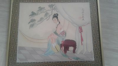 antique Chinese or Japanese painting on silk