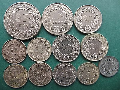 6.16 Fr SWISS / SWITZERLAND COINS x 12 - INCLUDES FOUR SILVER HALF FRANCS