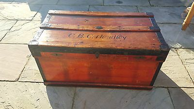 Vintage Industrial Marshall Shipping Trunk Storage Box Chest Coffee Table 1917