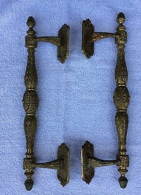 "Brass Door Handles Architecture Hotel Tavern Marked Spain 17 1/2"" Ornate Pulls"