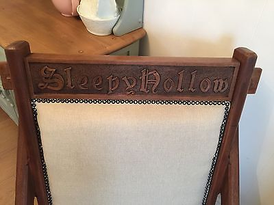 Rare Arts and Crafts Oak Chair - Carved Sleepy Hollow Reading Chair Chamfered