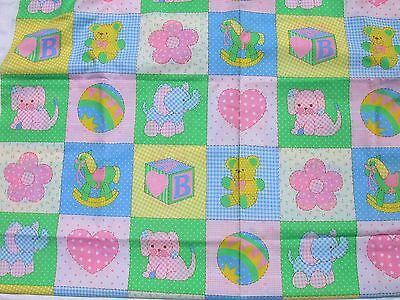 Vintage Baby Nursery Fabric Pastel Block Toys 3.75yd SpringMills Cotton Material