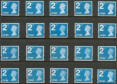 20 x 2ND CLASS LARGE BLUE  STAMPS. UNFRANKED, OFF PAPER, NO GUM. WITH FAULTS.