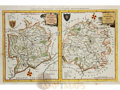 Monmouthshire Herefordshire Antique Map Kitchen 1786
