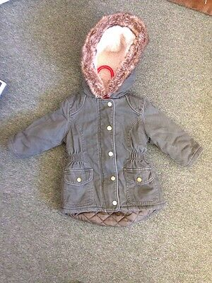 Girls Green Winter Parka Coat From M&S - 12-18 Months