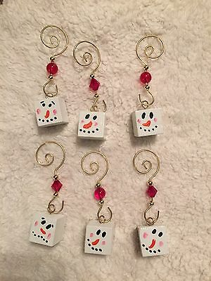 Set Of 6 Small Primitive Hand painted Snowman Ornaments