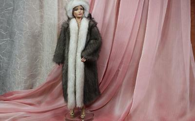 ~Blue Iris Gray & Mist Mink Fur Coat and Hat for Sydney Tyler Gene doll~dimitha~