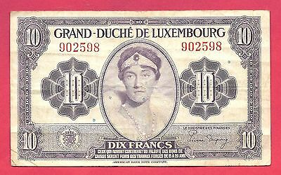 Luxembourg 1944 (ND) 10 Francs Note P-44a