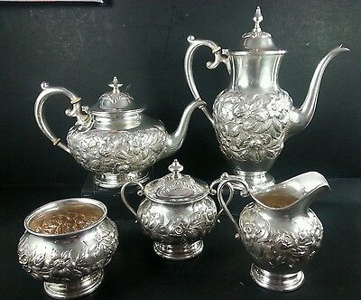 S.KIRK & SON 5 piece silver tea and coffee set # 621F REPOUSSE hollowware