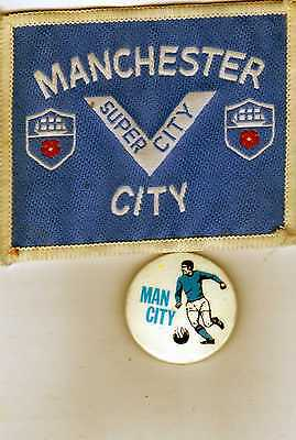 MANCHESTER CITY VINTAGE PATCH & PIN BADGE RARE1980.s