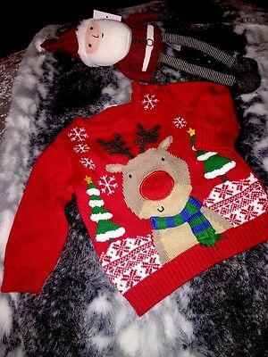 Next Baby 6-9months Christmas Jumper Xmas Reindeer Cute Top