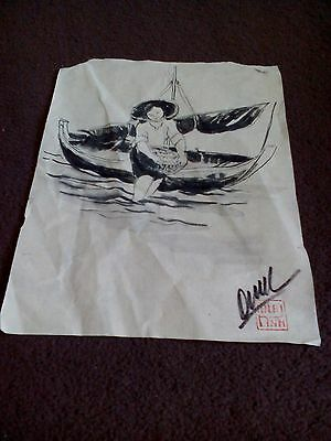 vintage Chinese painting boy fishing on paper signed Duy Link? with seal
